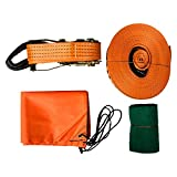 LINSGROUP(TM) 50' x 2'' Extra Soft Nylon Slackline with Tree Protectors and Carry Bag, Easy Set-Up Slackline Set, Perfect Slacklines for Kids and Family Outdoor Fun (ORANGE)