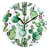 TropicalLife Cactus Flower Decorative Wall Clock Acrylic Round Clocks Non Ticking Art Decor Bedroom Living Room Kitchen Bathroom Office School