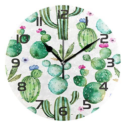 TropicalLife Cactus Flower Decorative Wall Clock Acrylic Round Clocks Non Ticking Art Decor Bedroom Living Room Kitchen Bathroom Office School