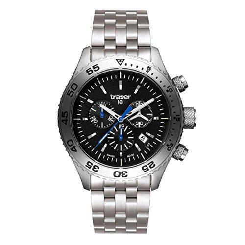 traser H3 Aurora Chronograph Sapphire Watch - Black - Steel Bracelet