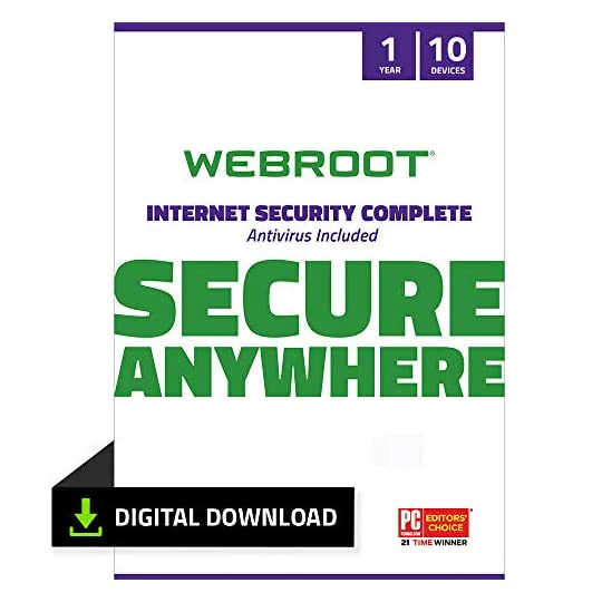 Webroot Internet Security Complete with Antivirus Software 2021 – 10 Device, Includes Android, IOS, Password Manager…