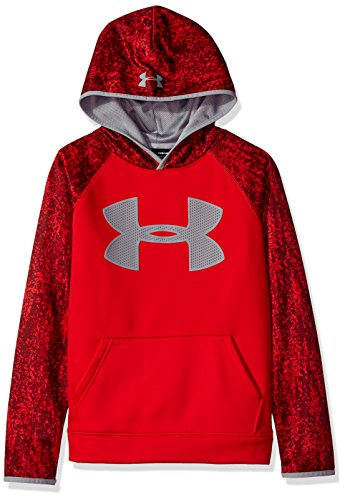 Under Armour Boys' Storm Armour Fleece Big Logo Printed Hoodie,Red (600)/Steel, Youth X-Small by Under Armour (Image #2)