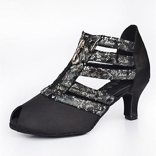 Mujer T T de para de Baile Tacón Personalizado Negro Zapatillas Negro Tacones Satinado Q Interior Cuero rYxdaqY