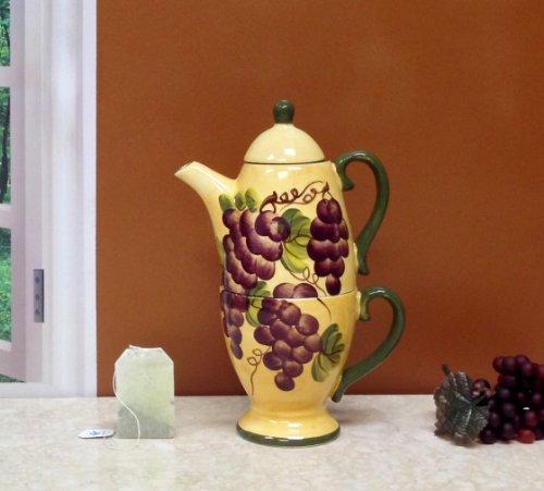 Tuscany Grape wine Decor TEA POT & CUP For One / Me