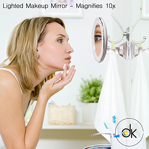 Magnifying Travel Lighted Makeup Mirror - 10 x Magnification for Flawless Make Up Application and Tweezing Eyebrows | Compact LED Vanity Mirror, Cordless, Locking Suction with BONUS Carry Bag