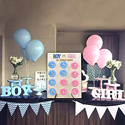Gender Reveal Party Supplies Donut Wall, Gender Reveal Decorations DIY Donut Board, Boy or Girl - We Donut Know Gender Reveal Party Favors for Baby Shower //Gender Reveal Table Decor//Home Decoration: Toys & Games