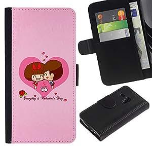 Billetera de Cuero Caso Titular de la tarjeta Carcasa Funda para Samsung Galaxy S3 MINI NOT REGULAR! I8190 I8190N / Happy Valentines Day / STRONG