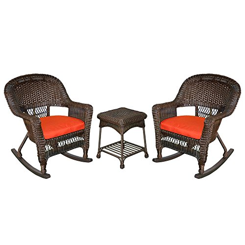 (Jeco W00201R-A_2-RCES018 3 Piece Rocker Wicker Chair Set with with Red Cushion, Espresso)