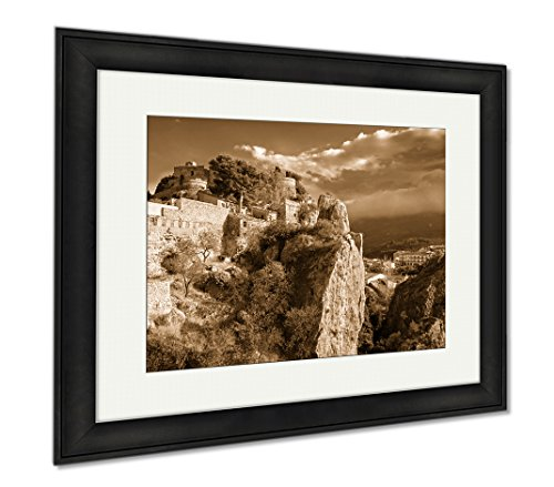 Ashley Framed Prints Remains Of The Ancient Fortress San Jose Castle In Guadalest Spain, Wall Art Home Decoration, Sepia, 26x30 (frame size), Black Frame, AG6535063 by Ashley Framed Prints