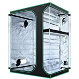 MAXSISUN 2-in-1 5x4 Grow Tent 600D Mylar Hydroponic Indoor Plants Growing Tent with Observation Window and Floor Tray 60x48x80 Grow Cabinet Multi-Chamber Space from Seeding to Harvests with One Tent