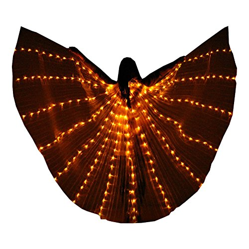 LED Isis Wings Glow Light up Belly Dance Costumes DJ Performance Clothing Carnival Halloween (Yellow) ()