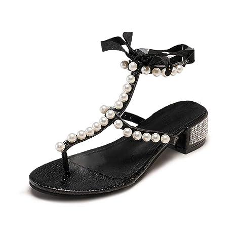 0dd2645d83b8 Copercn Women s Ladies Graceful Pearl Decoration Parallel Cross Band Open  Toe Ankle Tie Up Ribbon Lace