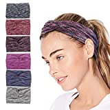 Facial Yoga Style - QIMOSHI 6 Packs Headbands for Women Girls Cotton Knotted Yoga Sport Hair Band Headwrap