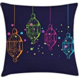 Starotor Throw Pillow Lantern Cushion Cover, Candles in Night Sketch in with Dots Arabian Motifs, Decorative Square Accent Pillow Case, 18 X 18 Inches, Dark Purple Multicolor
