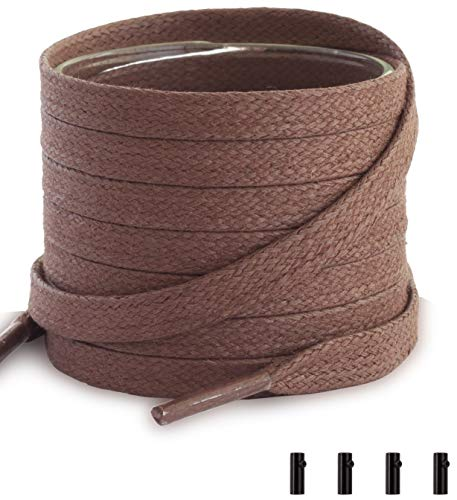 Shoemate Flat Waxed Cotton Shoe Laces for Boots & Dress Shoes with 4 Shoelace Tip Aglets, Tan, 48