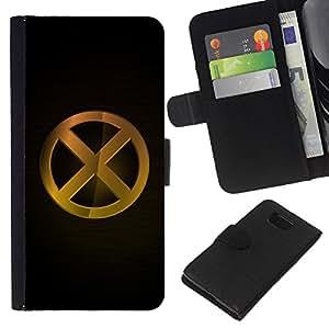 KLONGSHOP // Tirón de la caja Cartera de cuero con ranuras para tarjetas - XO X en O - Samsung ALPHA G850 //