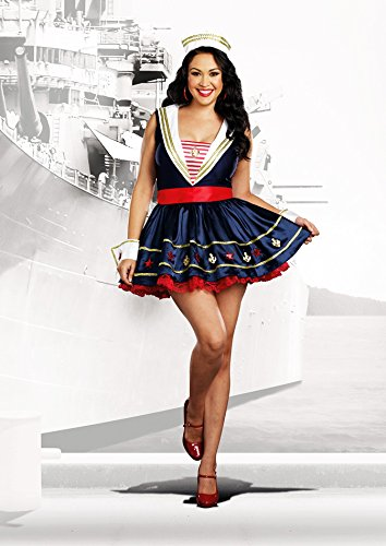[Dreamgirl Women's Plus-Size Shore Thing Sailor Costume, Blue, 1X/2X] (Plus Size Sexy Sailor Costumes)
