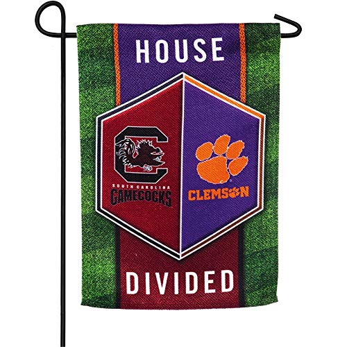Clemson University Garden - Team Sports America House Divided Clemson vs University of South Carolina Suede Garden Flag