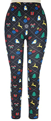Capelli New York Holiday Argyle Printed Seamless Legging Black Combo M / L