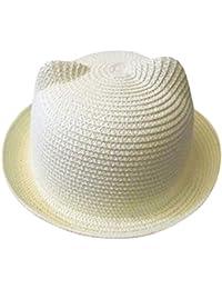Toddler Baby Boys Girls Sun Hat Super Cute Bear Ear Straw Hat Floppy  Foldable Roll Up 9e16aaaf25d3