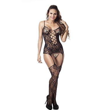 72a2301b6f Yonlanclot Sexy Erotic Underwear for Women Teddy Lingerie Set Fishnet Sheer  Open Crotch Body Stocking Bodysuit Sleepwear  Amazon.co.uk  Clothing