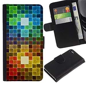 Apple iPhone 4 / iPhone 4S Modelo colorido cuero carpeta tirón caso cubierta piel Holster Funda protección - Polygon Rainbow Pattern Art