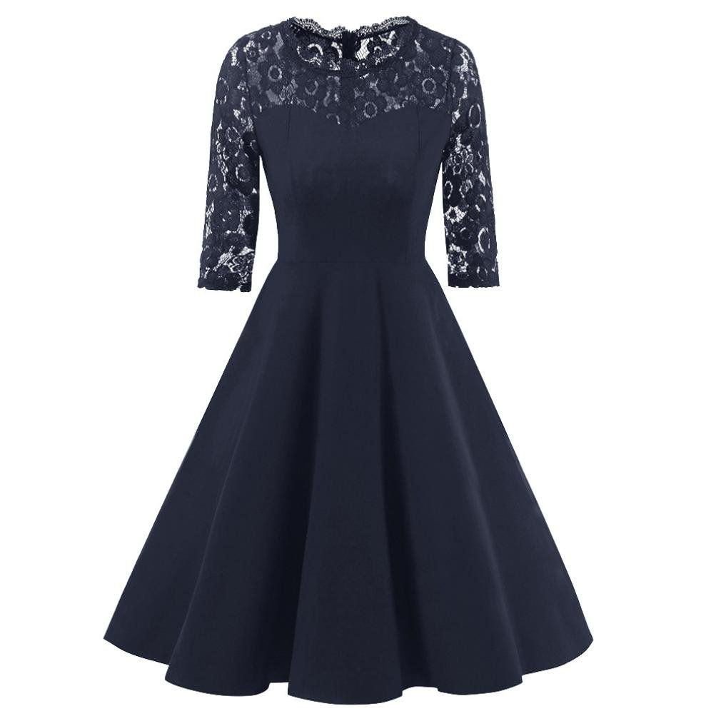 Women Dress Daoroka Ladies Sexy Lace Vintage Lace Half Sleeve Wedding Cocktail Evening Party A Line Swing Skirt Elegant Retro Fit and Flare Casual Fashion Cute Gift Fit Sundress (2XL, Navy)