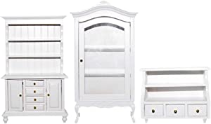 3 Pieces 1/12 Dollhouse Exquisite Cabinet Room Furniture Toy Accessory White