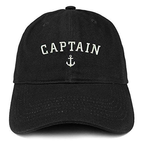 Trendy Apparel Shop Captain Anchor Embroidered Soft Crown 100% Brushed Cotton Cap - Black -