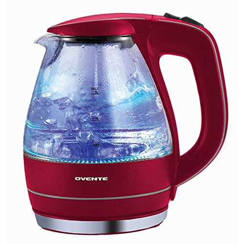 Ovente 1.5 Liters Automatic NonSlip Swivel Glass Electric Kettle with Flip-back Lid - Red - Ikon Tea Kettle