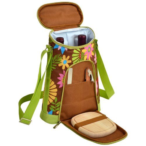 Picnic at Ascot Stylish 2 Bottle Insulated Wine Tote Bag with Cheese Board, Knife and Corkscrew - Floral -  398-F