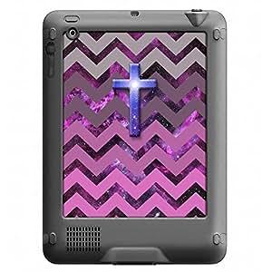 Skin Decal for LifeProof Nuud Apple iPad Gen 2/3/4 Case - Cross on Chevron Grey Plum Pink on Nebula
