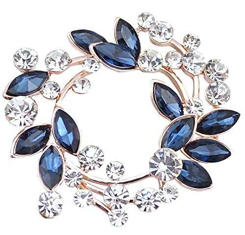 Gyn&Joy Clear Crystal Rhinestone Floral Wreath Pin Brooch BZ005 (Blue)