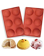 Silicone Mold for Chocolate, 6 Holes Semi Sphere Baking Mold for Making Hot Chocolate, Cake, Jelly, Pudding, Non Stick Round Shape Cupcake Baking Pan Mold (2 PCS)