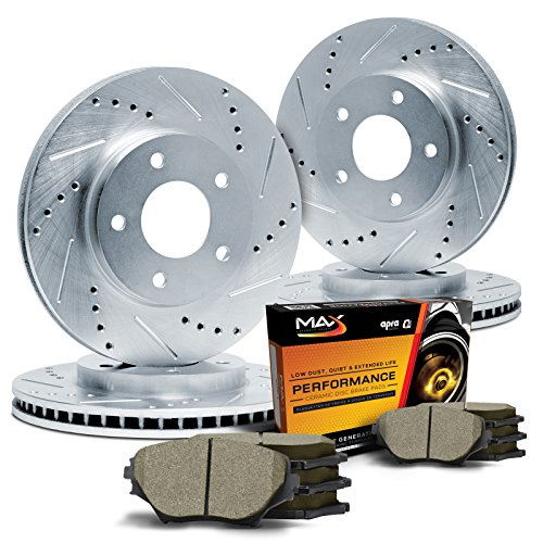 Max KT058113 Front + Rear Silver Slotted & Cross Drilled Rotors and Ceramic Pads Combo Brake Kit (Max Advanced Brakes 01 Mustang compare prices)