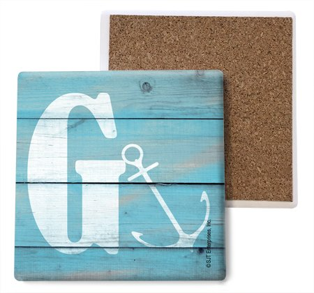 SJT ENTERPRISES, INC. Initial/Letter Lake Beach Themed Coasters -G Absorbent Stone Coasters, 4-inch (4-Pack) (SJT96868) ()