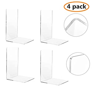 CY craft 4 Pieces Bookends,Clear Acrylic Bookends for Shelves,Heavy Duty Book Ends and Desktop Organizer,Book Stopper for Books/Movies/CDs,7.3 ×4.8× 4.8 inch