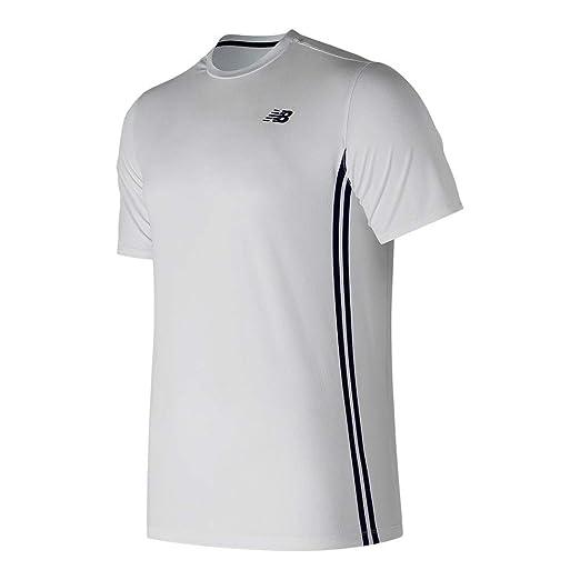 2c3d445f08841 New Balance Men's Rally Court Crew Short Sleeve Shirt, White Multi, Small