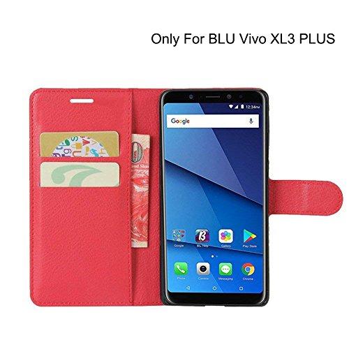 BLU Vivo XL3 PLUS Case, AVIDET Premium Folio Case with [Kickstand] [Card Case] [Magnetic Closure] Flip Cover Case for BLU Vivo XL3 PLUS smartphone (Red)