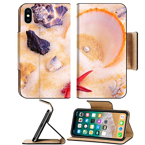 Collection Scallop - MSD Premium Apple iPhone X Flip Pu Leather Wallet Case a collection of scallops and pearl IMAGE 20502162