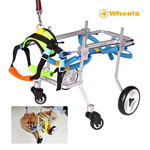 HiHydro Pet Wheelchair, Four Wheels Adjustable Dog Wheelchair Fore-Leg Rehabilitation for Handicapped Dog Pet Wheelchair Training Behavior Aids(XS)