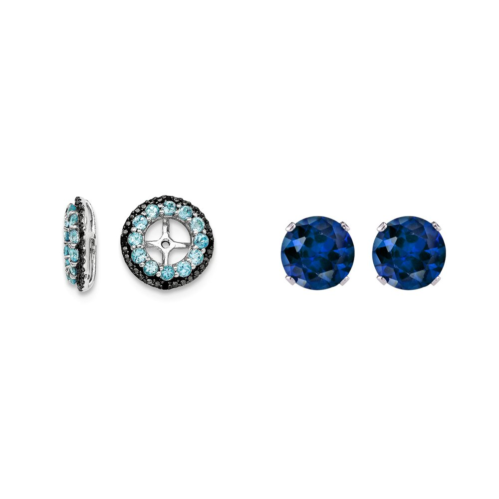 Sterling Silver Blue Simulated Topaz, Black Simulated Sapphire Earring Jacket + 2mm Blue CZ Studs