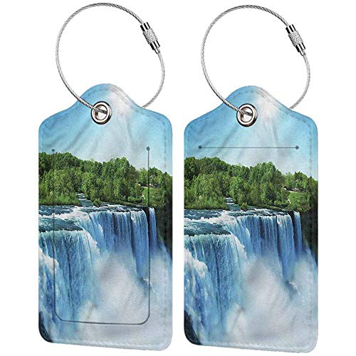 Luggage Suitcase Tag, Waterproof Luggage Tag, Full Back Privacy Cover Waterfall Flowing Water in a River (1,2 & 4 Pack)