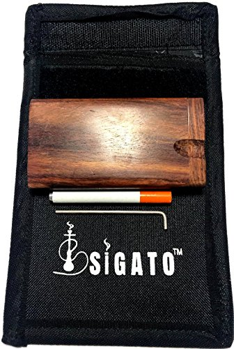 Sigato™ : Smell Proof Bag Case Pouch + Free Gift : Raw Natural Wood Storage Container Stash Box Wooden Storage Box Handmade Swivel Top Inlaid Wood Box With Bat + Cleaner : SB-S-B+WD