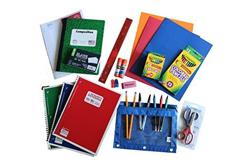 Back to School Supplies Bundle with Pencils, Crayons, Scissors, Pens, Notebooks, Folders, Paper, Gluesticks, Eraser, Sharpeners, Notecards, Zipper Pack, Ruler, and More