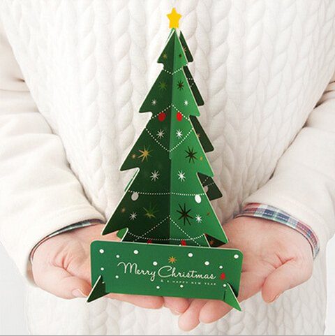 10pcs/lot Merry Christmas 3D Tree Greeting Card Postcard Birthday Gift Message Card Set Thanksgiving (Thanksgiving Greetings Postcard)