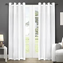 Exclusive Home Curtains Chatra Faux Silk Grommet Top Window Curtain Panel Pair, Winter White, 54x84