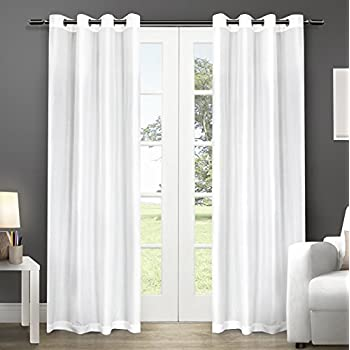 Captivating Exclusive Home Curtains Chatra Faux Silk Grommet Top Window Curtain Panel  Pair, Winter White,