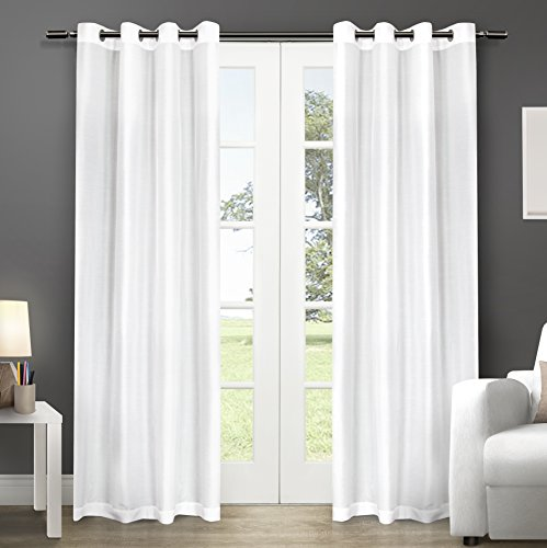 - Exclusive Home Chatra Faux Silk Window Curtain Panel Pair with Grommet Top, Winter White, 54x96, 2 Piece