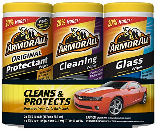Armor All 18782 Protectant, Glass and Cleaning Wipes, 30 count each – 3 Pack Wipes